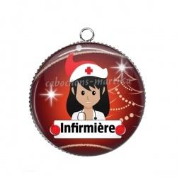 Pendentif Cabochon Argent - infirmière