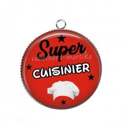Pendentif Cabochon Argent - super cuisinier