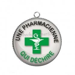 Pendentif Cabochon Argent - une pharmacienne qui déchire