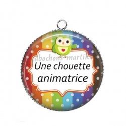 Pendentif Cabochon Argent - une chouette animatrice