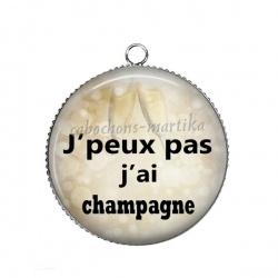 Pendentif Cabochon Argent - j'peux pas j'ai champagne
