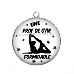 Pendentif Cabochon Argent - une prof de gym formidable