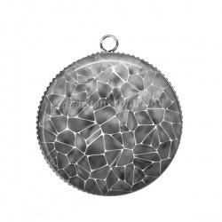 Pendentif Cabochon Argent - Mosaïque