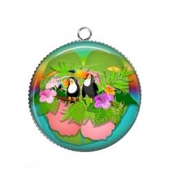 Pendentif Cabochon Argent - toucan