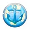 Cabochon Verre - ancre de mer