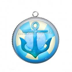 Pendentif Cabochon Argent - ancre de mer