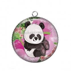 Pendentif Cabochon Argent - panda