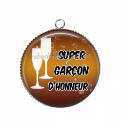 Pendentif Cabochon Argent - super garçon d'honneur