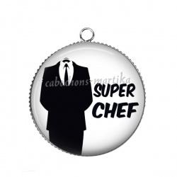 Pendentif Cabochon Argent - super chef