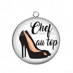 Pendentif Cabochon Argent - chef au top