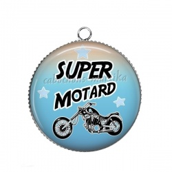Pendentif Cabochon Argent - super motard