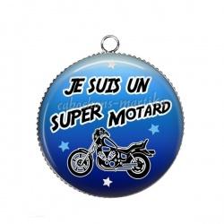 Pendentif Cabochon Argent - je suis une super motard