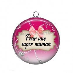 Pendentif Cabochon Argent - pour une super maman