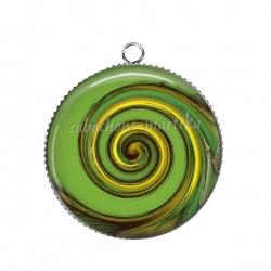 Pendentif Cabochon Argent - spirale