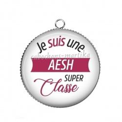 Pendentif Cabochon Argent - je suis une AESH super classe