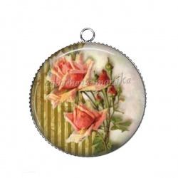 Pendentif Cabochon Argent - fleur rose