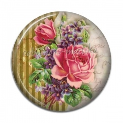 Cabochon Résine - fleur rose
