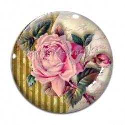Cabochon Verre - fleur rose