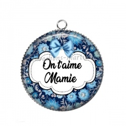 Pendentif Cabochon Argent - On t'aime Mamie