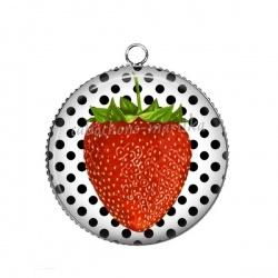 Pendentif Cabochon Argent - fraise