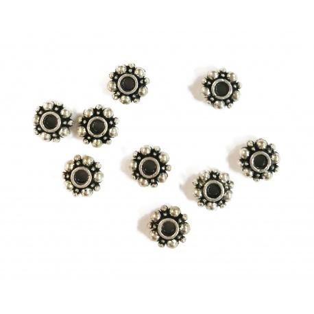 perle 6 mm métal argenté