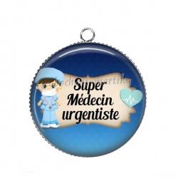 Pendentif Cabochon Argent - super médecin urgentiste