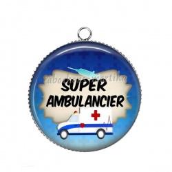 Pendentif Cabochon Argent - super ambulancier