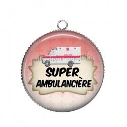 Pendentif Cabochon Argent - super ambulancière