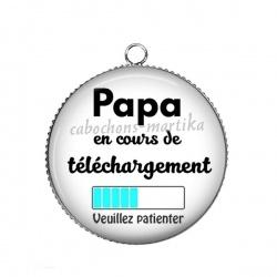 Pendentif Cabochon Argent - papa en cours de telechargement