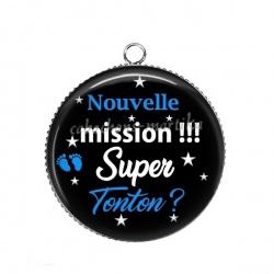 Pendentif Cabochon Argent - nouvelle mission super tonton