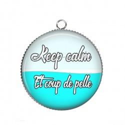 Pendentif Cabochon Argent - keep calm et coup de pelle