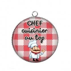 Pendentif Cabochon Argent - chef cuisinier au top
