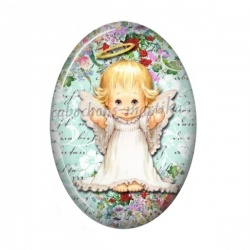 Cabochon Résine Ovale - enfant ange