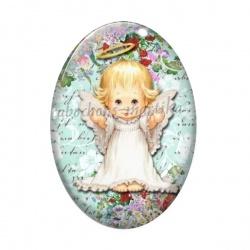 Cabochon Verre Ovale - enfant ange